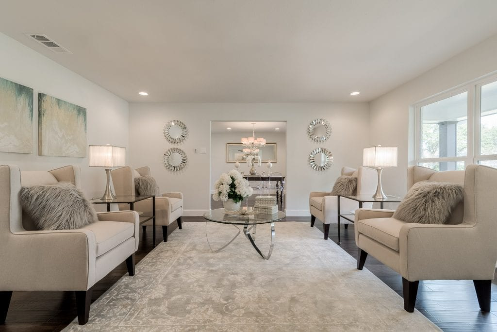 classic timeless luxury home staging living room neutrals dallas
