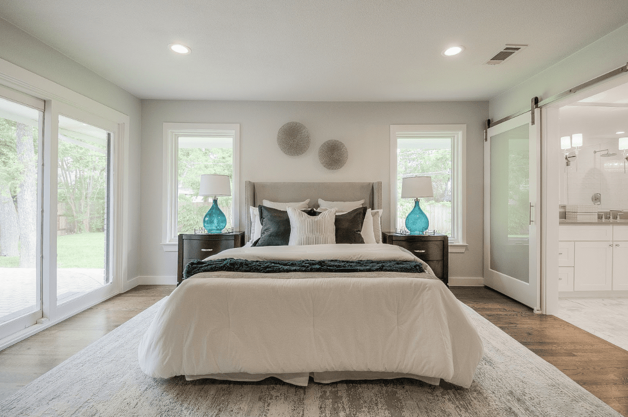 classic modern traditional interior master bedroom bathroom staged for sale profit dallas white