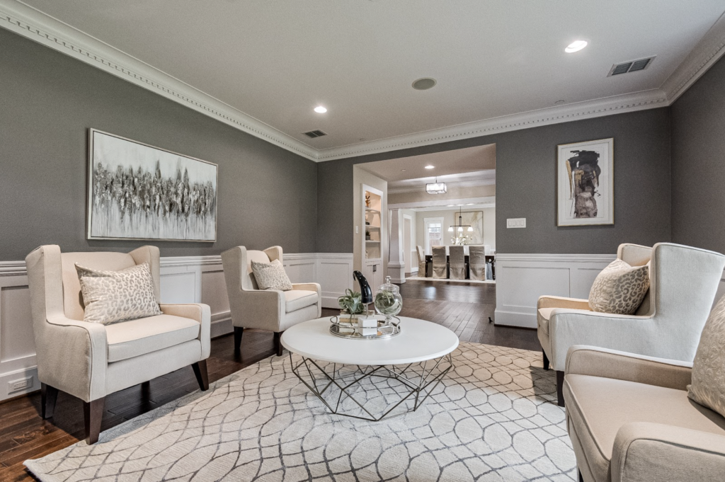 design by keti dallas home staging patterned rug white furniture art grey walls white trim stunning