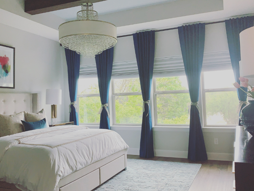 Before dallas master bedroom design blue drapery traditional style