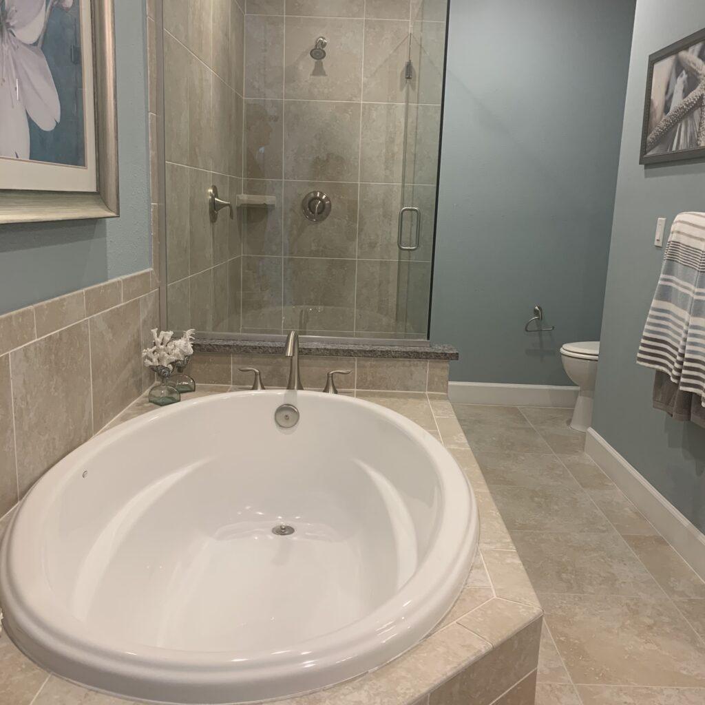 platform tub outdated builder-grade spec home